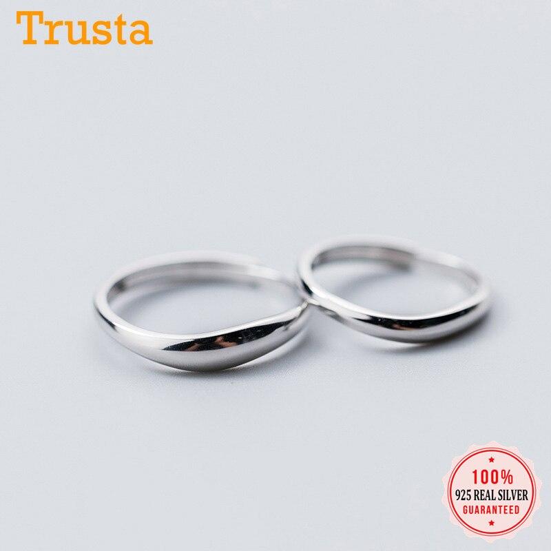 Anillo Trustdavis de plata de ley 925 auténtica y minimalista, anillo ajustable Irregular y sencillo para hombre y mujer, joyería de boda DA1113