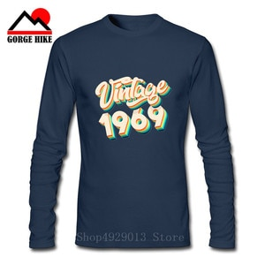 Vintage 1969 50th Birthday Gift Idea T-Shirt for Men 50 Years Old Long Sleeve Retro Tees Round Neck 100% Cotton Clothes T Shirt