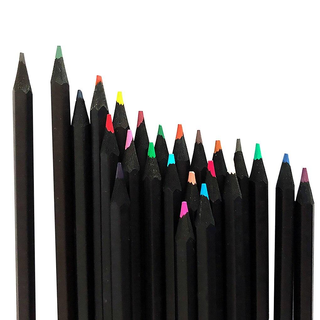 24 pçs conjunto de lápis crianças estudantes artista desenho pintura 24 cores de madeira caneta 3mm diâmetro