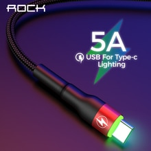 Type de roche C 5A LED lumière USB Type C câble USBC charge rapide QC 4.0 chargeur type-c câble déclairage pour Samsung S10 S9 Xiaomi 9 8