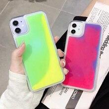 Glitter Lichtgevende Neon Zand Case Voor Iphone 12 Pro 11 11Pro Max 7 8 Plus 11Pro X Xs Max Xr liquid Quicksand Soft Phone Case Cover