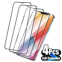 4Pcs Full Cover Protective Glass For iPhone 13 11 12 Pro Max Screen Protector For iPhone X XS Max XR 13 Mini Tempered Glass Film