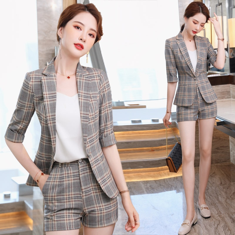 Plaid Suit Shorts Suit for Women Spring/Summer 2021 New Younger Fashion Western Style Fried Street P