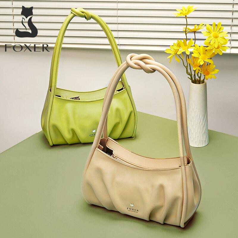 FOXER Lady Split Leather Pillow Bag Fashion Simple Armpit Shoulder Bag Pleated Small Handbag High Quality Luxury Soft Woman Bag