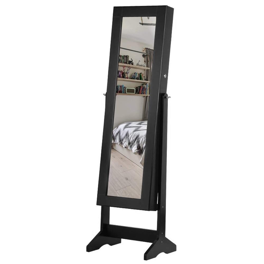 【خزانة تخزين مجوهرات خشبية ، مرآة غير كاملة ، 4 طبقات ، خزانة قابلة للتعديل ، أسود