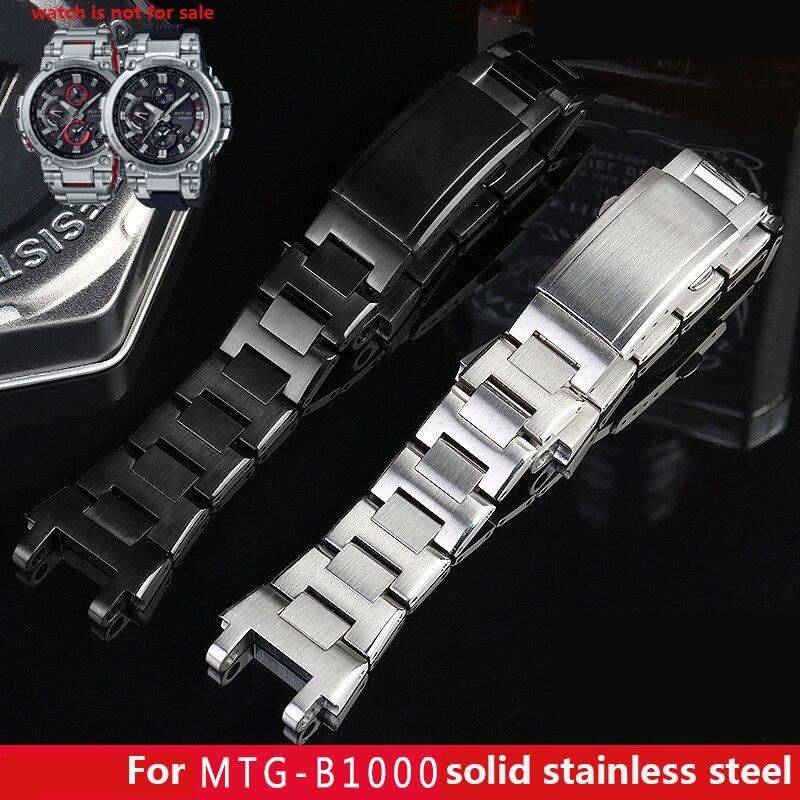 Banda de relógio de aço inoxidável sólida para g choque pulseira de metal MTG-B1000 / MTG-G1000 energia cinética de luz bluetooth