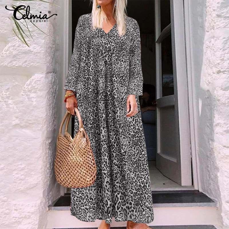 5XL Celmia verano Sundress mujeres vestido largo 2020 Sexy leopardo estampado cuello pico Casual plisado suelta Bohemia Maxi Vestidos de talla grande