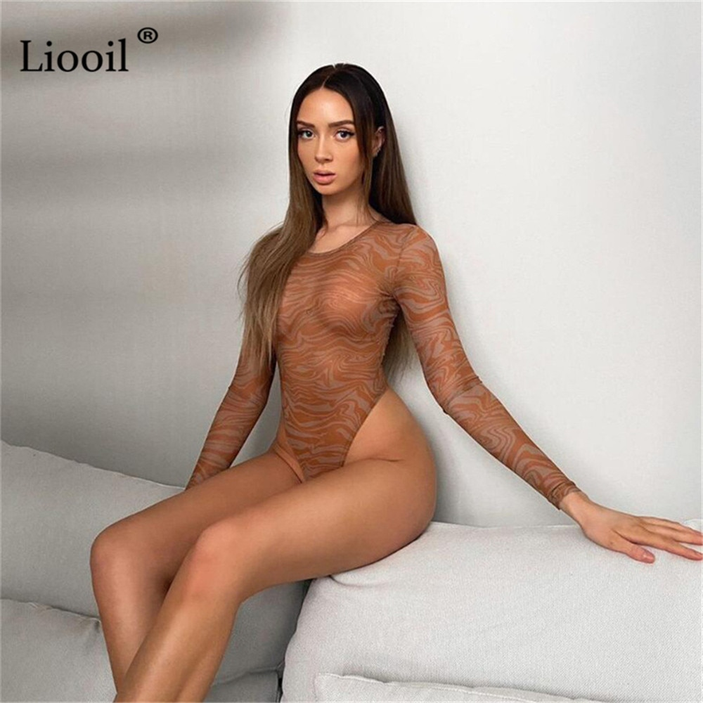 Liooil Sexy Mesh Bodysuits Bodycon Body Tops Long Sleeve O Neck See Through Tight Rompers Printed Jumpsuits Women Summer 2021