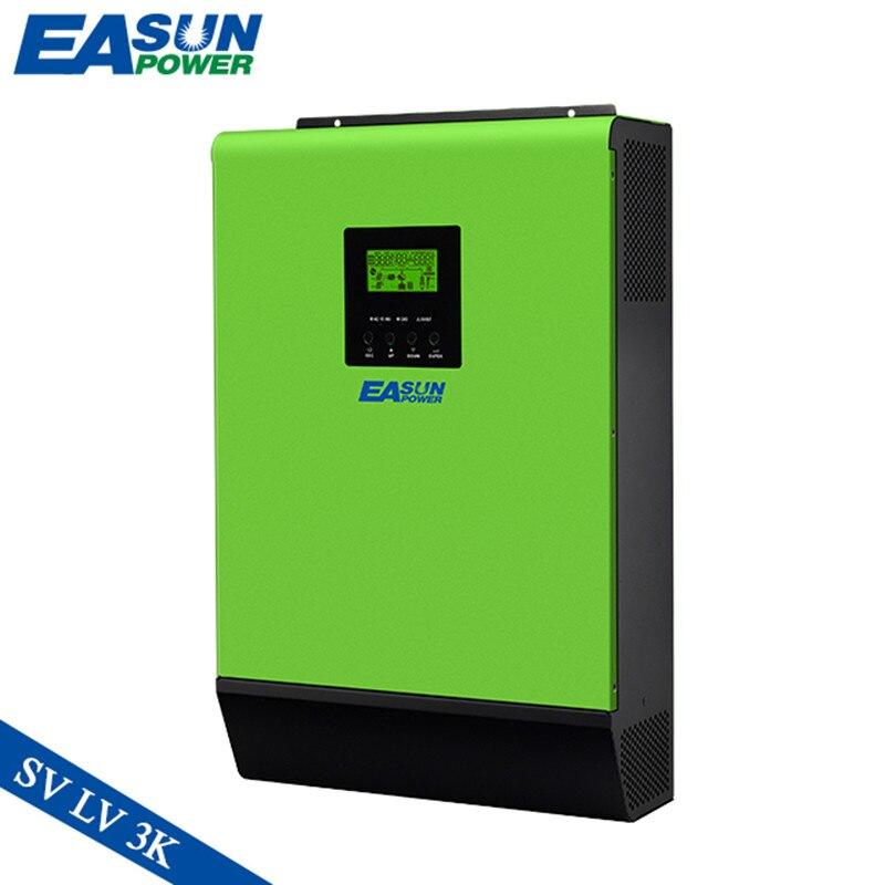 Inversor híbrido EASUN, 2400W, 3KVA, 24V, 110VAC, inversor Solar de conexión a red, 80A MPPT, carga Solar, onda sinusoidal pura, 40A, carga CA