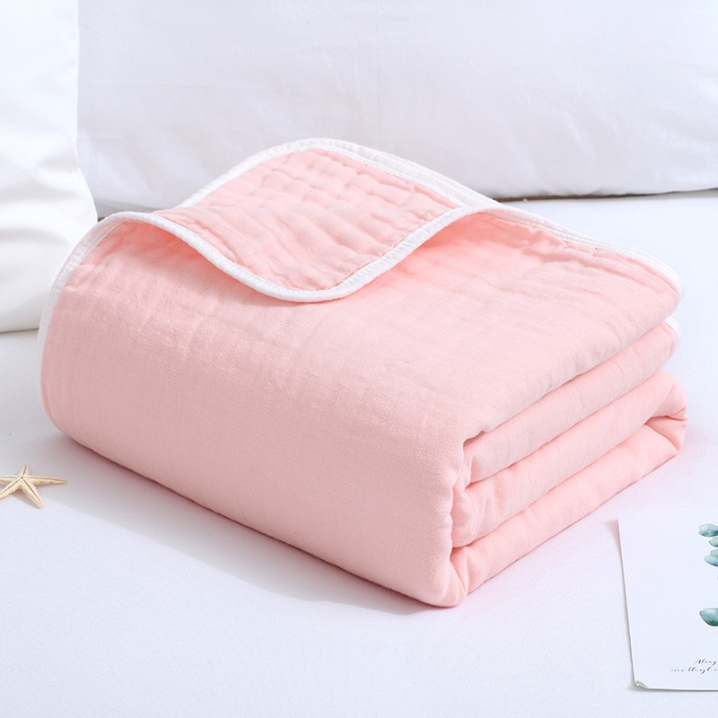 Muslin six-layer gauze cotton soft skin care baby blankets combed plain edging light breathable kids quilts 110*120CM Swaddle