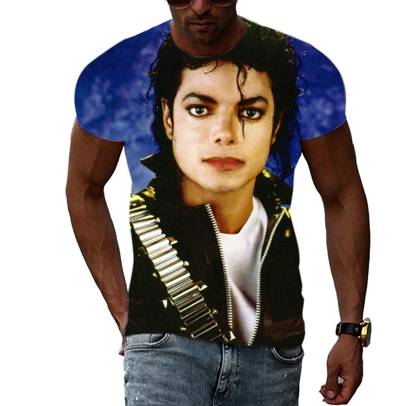 Camiseta con estampado de Michael Jackson para hombre, camisa informal de manga...
