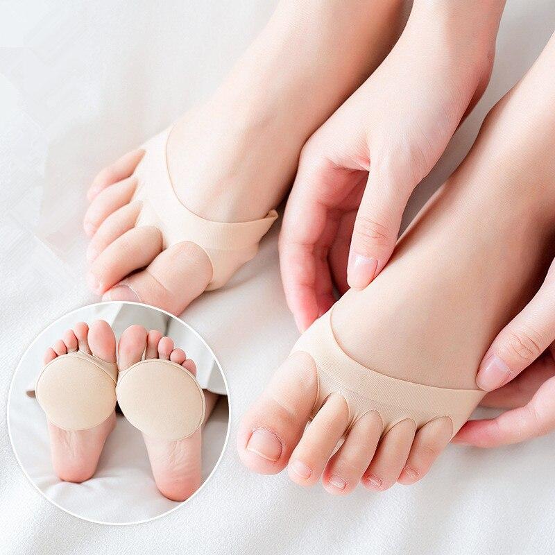 Peds meias macias dedo do pé aberto palmilha do antepé cinco dedos meias forro elástico esponja alívio da dor anti-deslizamento proteção dos cuidados com a pele do pé