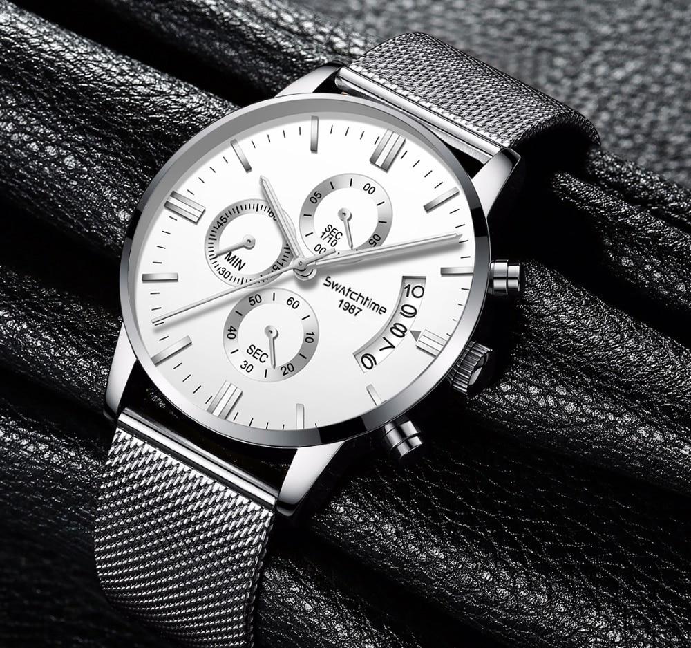 Free Shipping Mens Chronograph Wristwatches Leather Strap Waterproof Luminous Man Quartz Watch