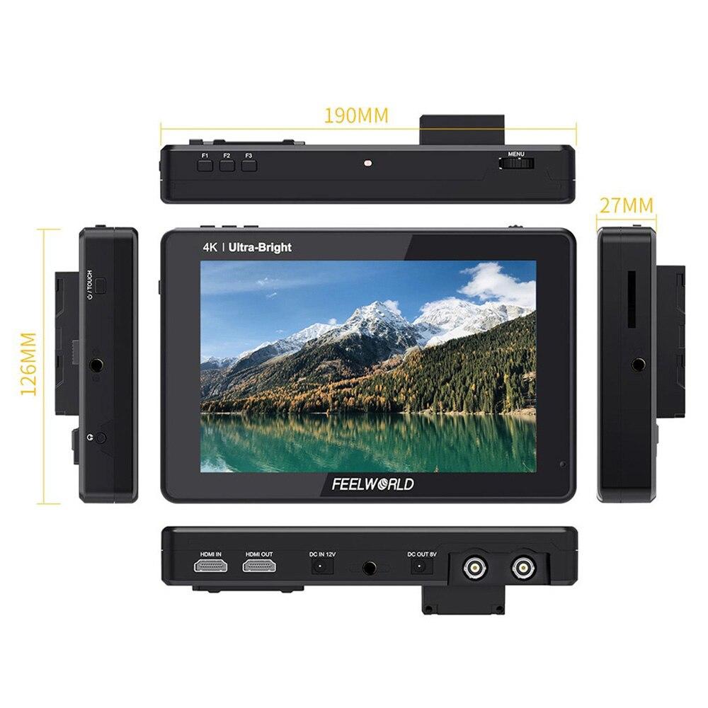 FEELWORLD-شاشة فيديو ميدانية لكاميرا DSLR ، 7 بوصة ، لوحة LUT IPS ثلاثية الأبعاد ، مع إدخال 4K ، مجموعة تركيب طاقة خارجية