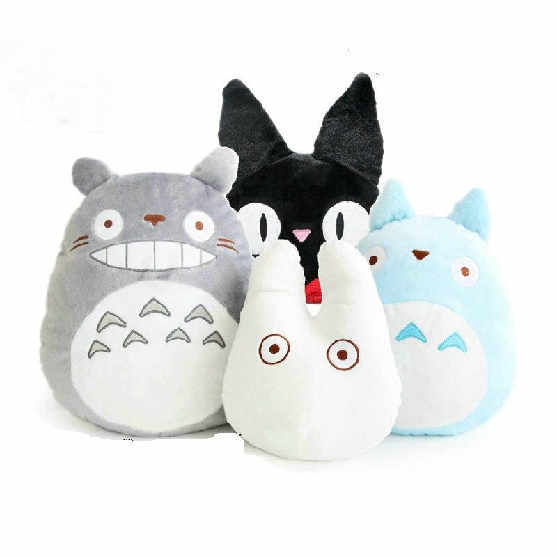 Hcdtoy Kawaii animé mono de Japón Totoro peluche suave relleno Plushies almohada cojín de dibujos animados muñeca blanca gato negro juguetes para niños
