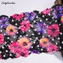 2 Yards 16.2 cm de large marguerite fleurs bordure en dentelle élastique noir pour vêtements accessoires soutien-gorge dentelle Applique Costume dentelle passementerie bricolage