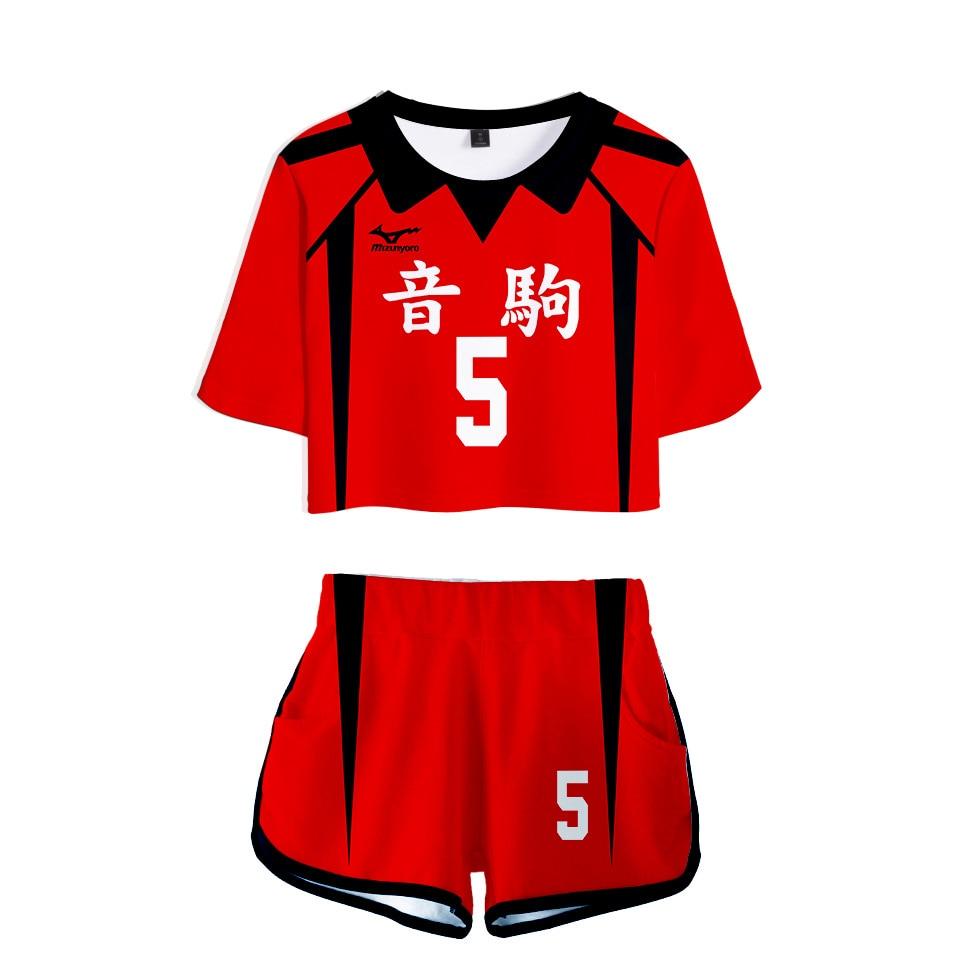 Disfraz de Anime Haikyuu Nekoma, Club de voleibol escolar alto, Kozume Kenma Kuroo Tetsurou, conjunto de dos piezas, Tops y pantalones cortos para mujer