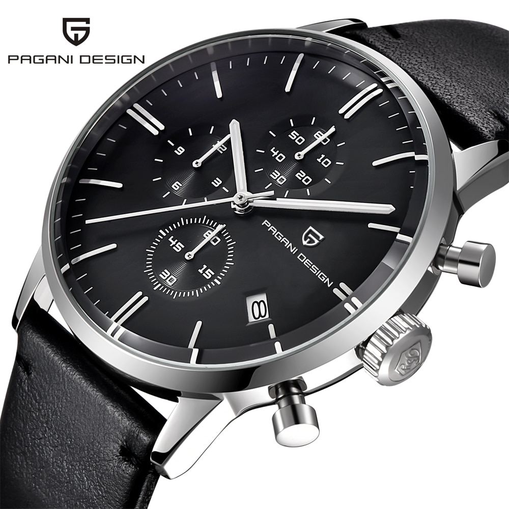 PAGANI تصميم رجل ساعة أفضل علامة تجارية فاخرة مقاوم للماء 30M جلد طبيعي ياباني VK67 ساعة يدّ كوارتز Relogio Masculino