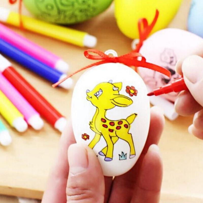 Huevo de Pascua DIY pintado a mano con 4 bolígrafos de colores producción Manual dibujo pintado a mano juguete de cáscara de huevo aleatorio 66