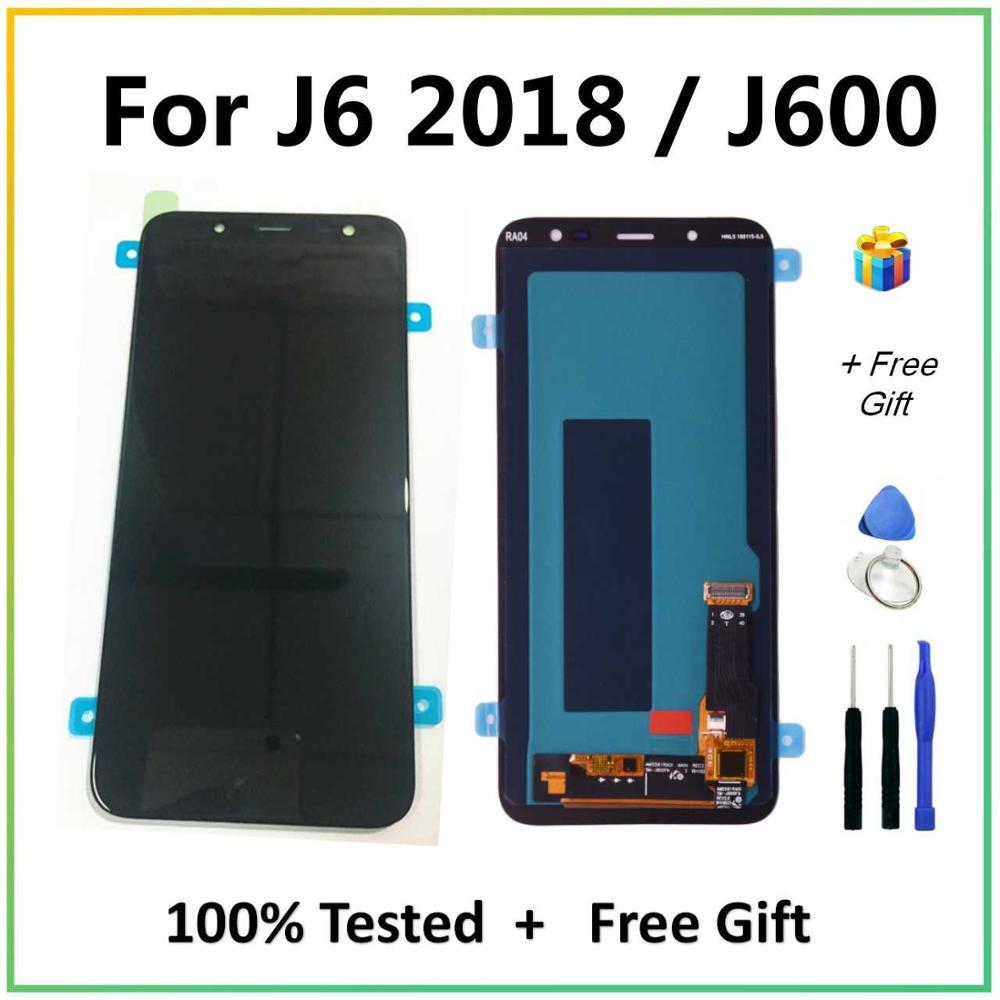 Super AMOLED LCD para Samsung J6 2018 pantalla LCD de montaje de digitalizador con pantalla táctil para Samsung Galaxy J6 J600 J600F LCD