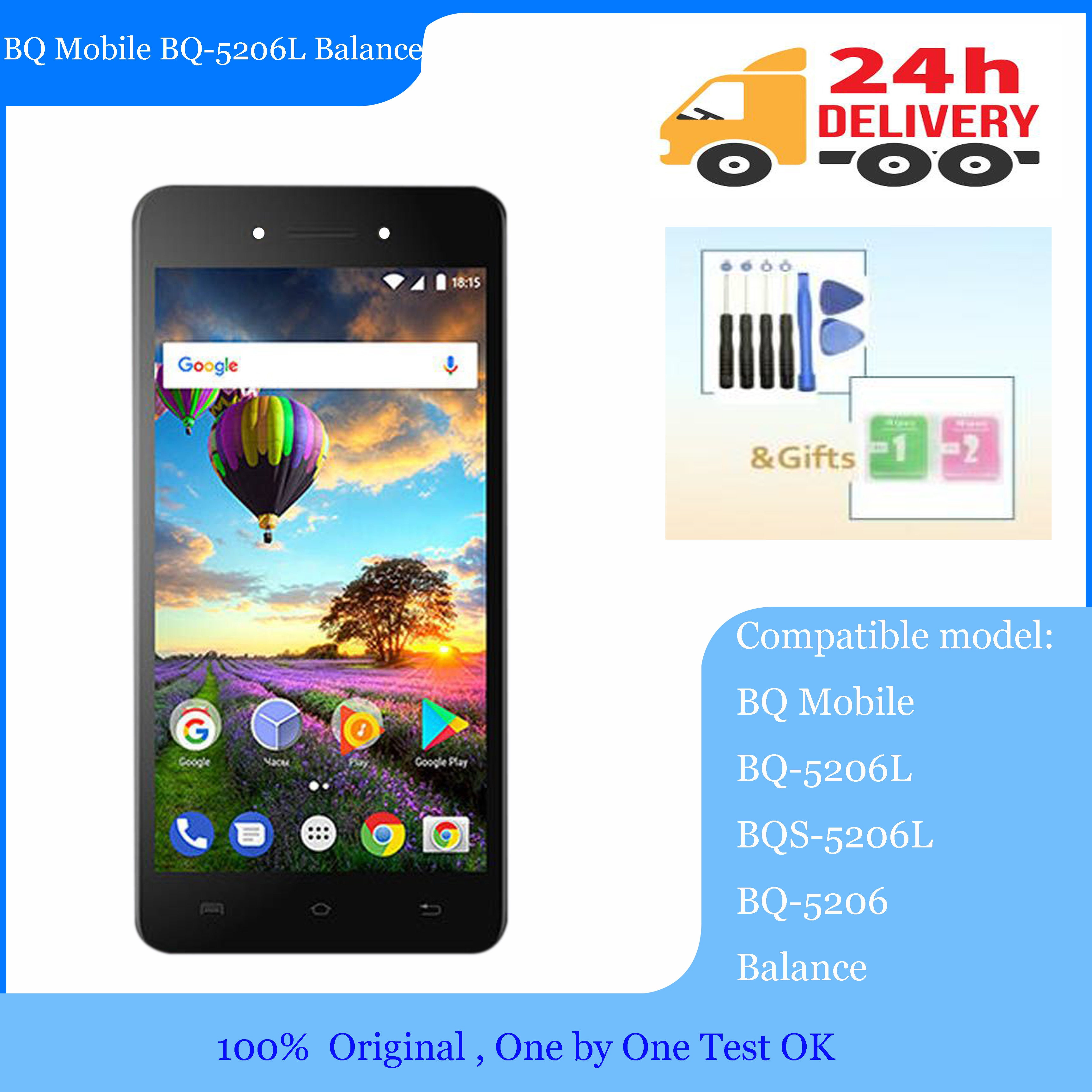 NEW Lcd 5.2inch for BQ Mobile BQ-5206L Balance BQ-5206L BQS-5206 BQ 5206L  LCD Display With Touch screen Digitizier Assembly