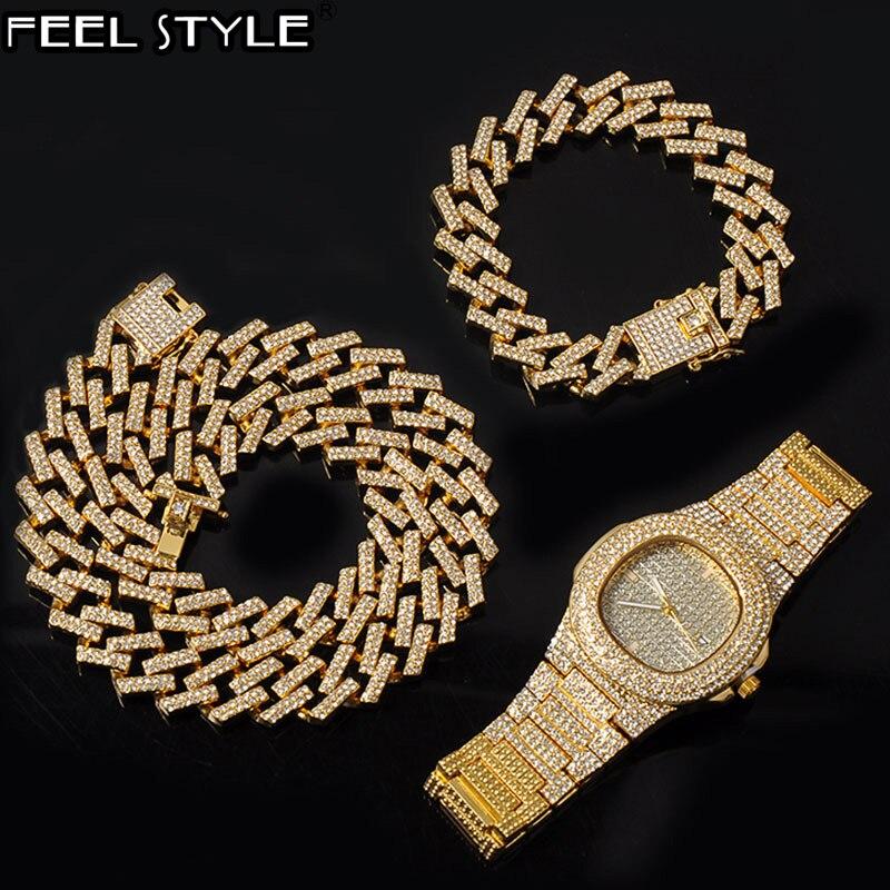 15mm relógio + corrente + pulseira hip hop bling congelado cristal cubano pavimentado strass miami zircon masculino colares gargantilha jóias