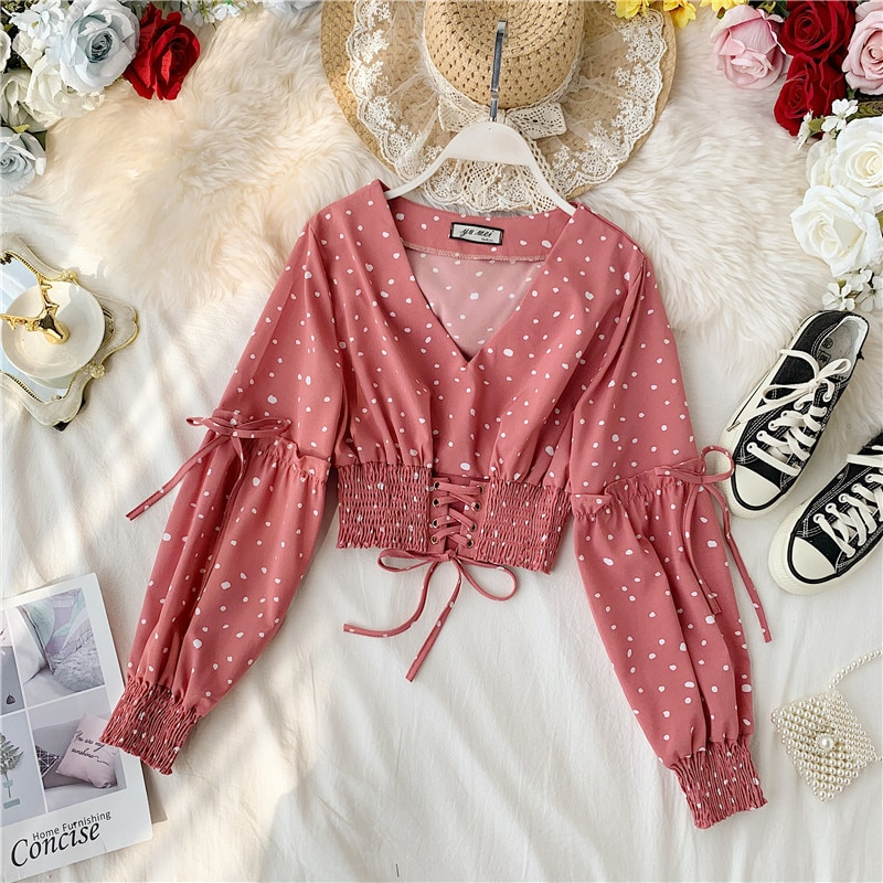 2019 New Korean Retro V Collar Long Sleeved Casual Shirt Women Chiffon High Waist Short Crop Tops Blusas Femininas Elegante J955