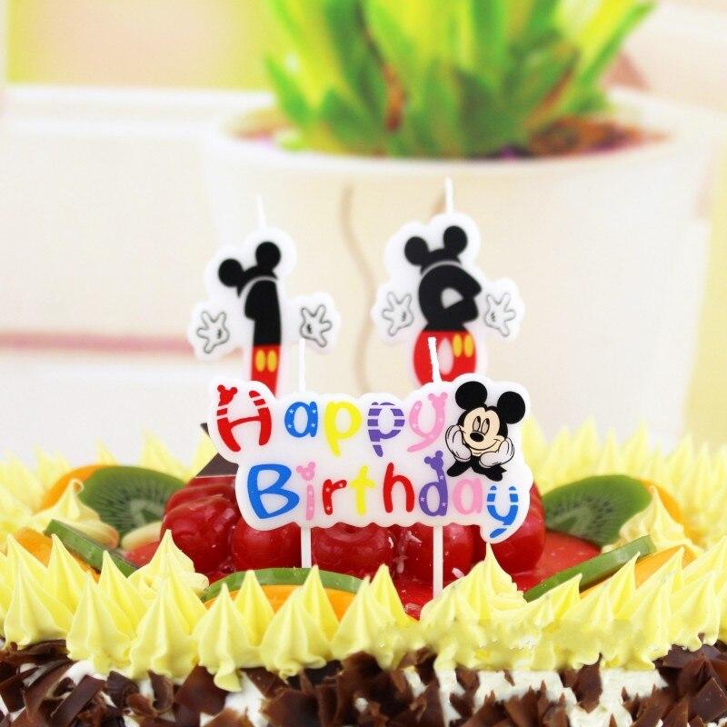 Oferta, feliz cumpleaños número de 0-9, velas con dibujos animados de Mickey, Minnie Mouse, vela para pastel, Cupcake, suministros de decoración para fiesta, regalos DIY