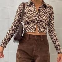 2021 harajuku brown vintage long sleeve tee shirt women casual y2k cropped tops tees fashion button up t shirt spring streetwear