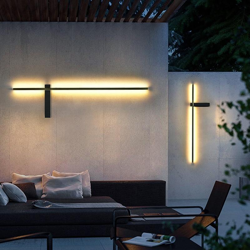 LED Outdoor Wall Light Long Wall Light Modern Waterproof IP54 villa Porch Garden Wall Lamp exterior