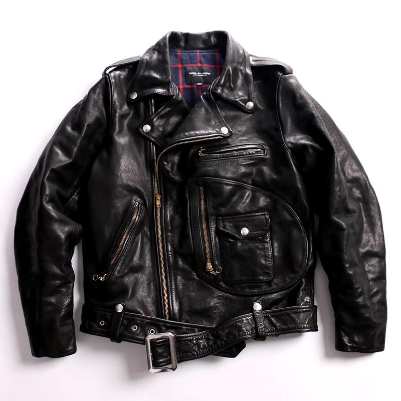 J22 Read Description! Asian Size Super Top Quality Genuine Horse Leather Slim Classic Horsehide Stylish Rider Jacket