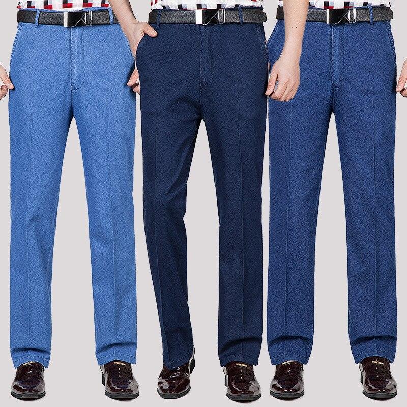 Горячая Распродажа 2021 летние тонкие Бизнес Джинсы мужские размера плюс, брюки джинсовые шорты, с завышенной талией, эластичные свободные пр...