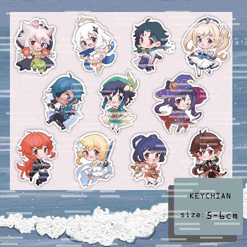 2021 Hot Sale Genshin Impact Cosplay Cute Game Character Venti Paimon Tartaglia Mona Acrylic Key Chain Pendant Keyring