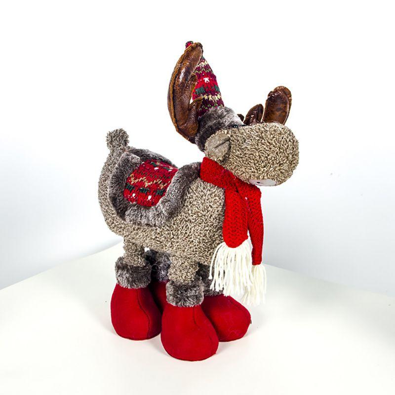 Muñeco de Reno de peluche de Navidad ornamento figuras de navidad regalo con patas telescópicas de peluche de juguete