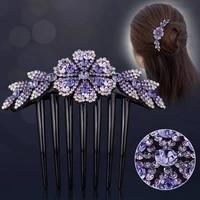 korean version of rhinestone flower non slip headdress ladies insert comb hair accessories