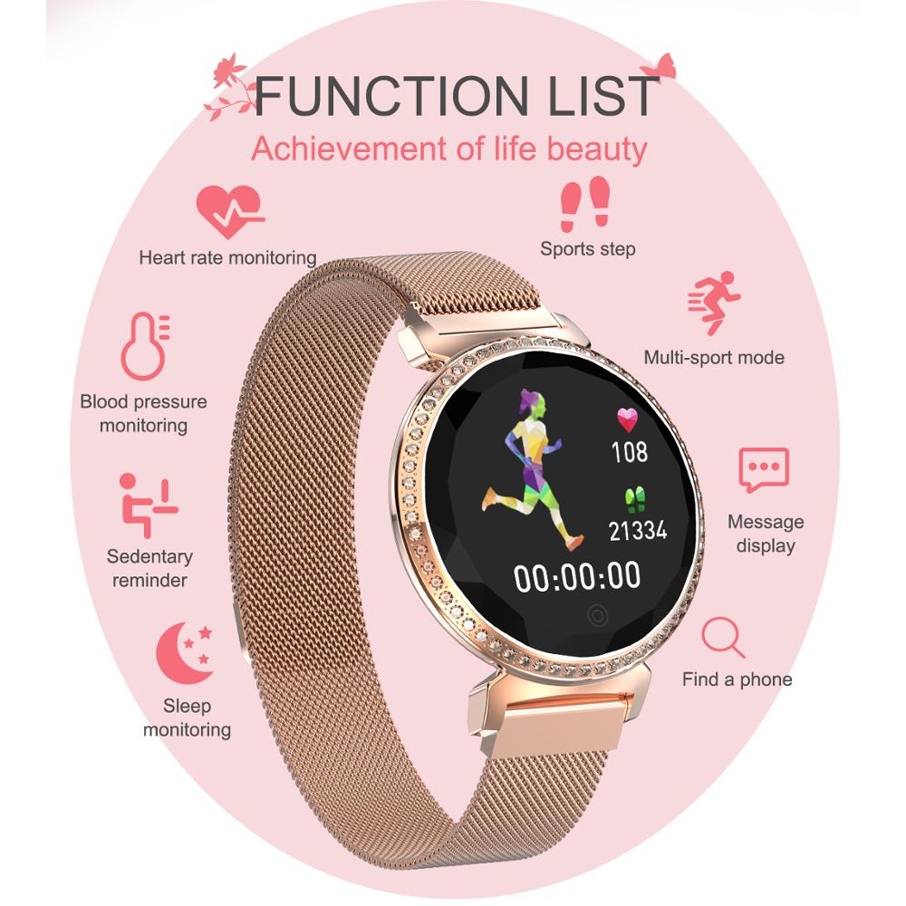 Purple Crystal Women For Android IOS Electronic Heart Rate Monitor Waterproof Ip67 Smart Watch Women Blood Pressure Measurement умные часы smart watch colorful 0 96inch tft ip67 waterproof heart rate monitor multisport mode compatibility with ios and android 90mah long li