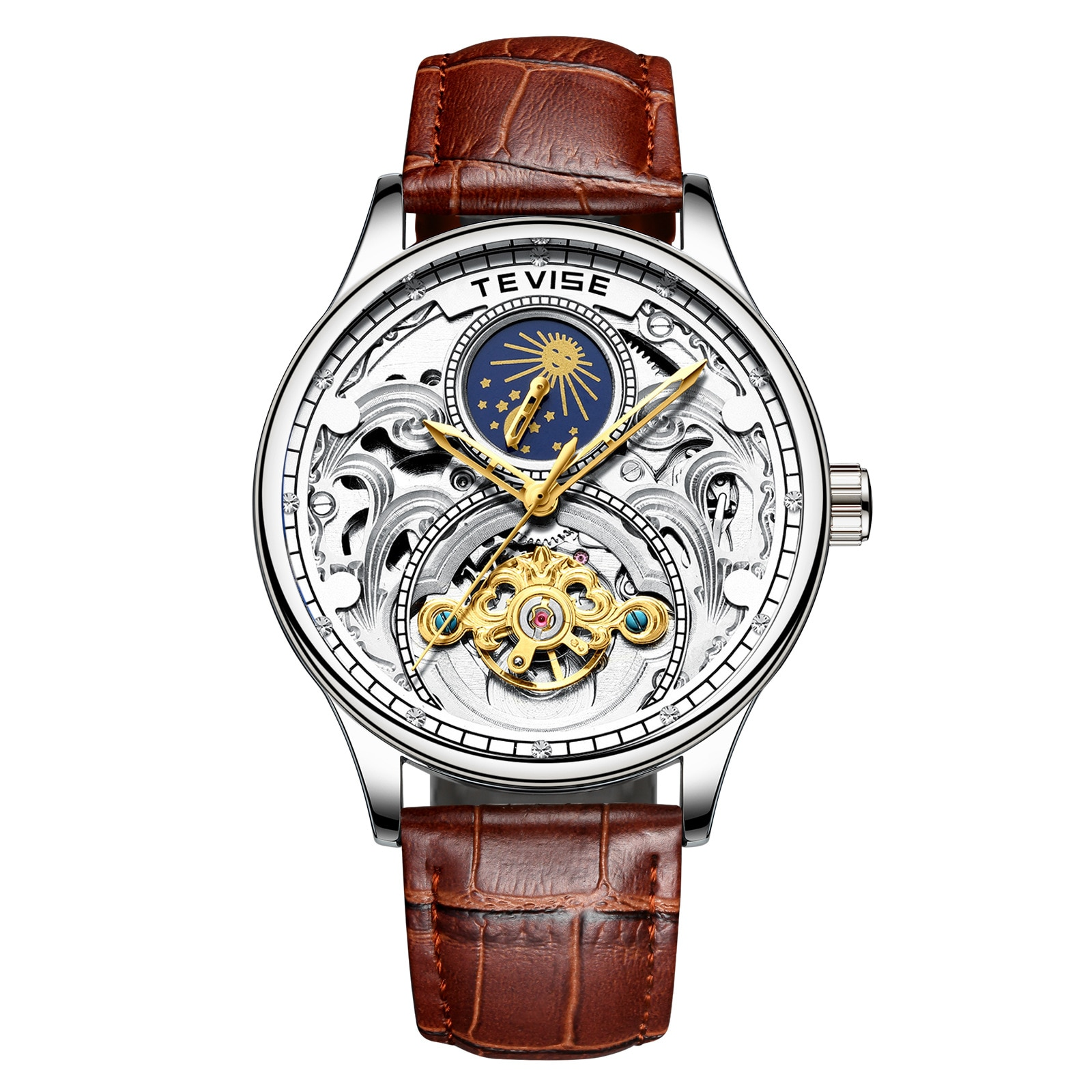 Mens Skeleton Mechanical Watches Leather Wristwatch 30m Water Resistance Top Brand Luxury Automatic Watch For Men enlarge