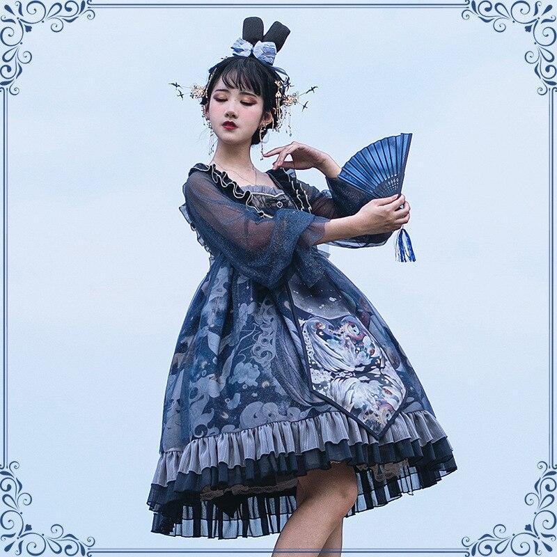 فستان لوليتا على الطراز الصيني عتيق بأكمام طويلة شفافة ووحيد القرن