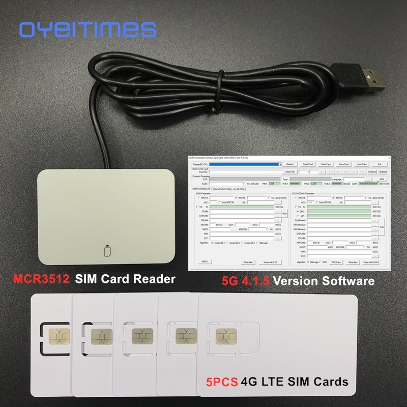 OYEITIMES 4G LTE SIM Card Reader Writer Programmer+5PCS 128k 4G LTE Blank SIM Cards +1PC 2G3G4G5G 4.1.5 Ver SIM Card Software