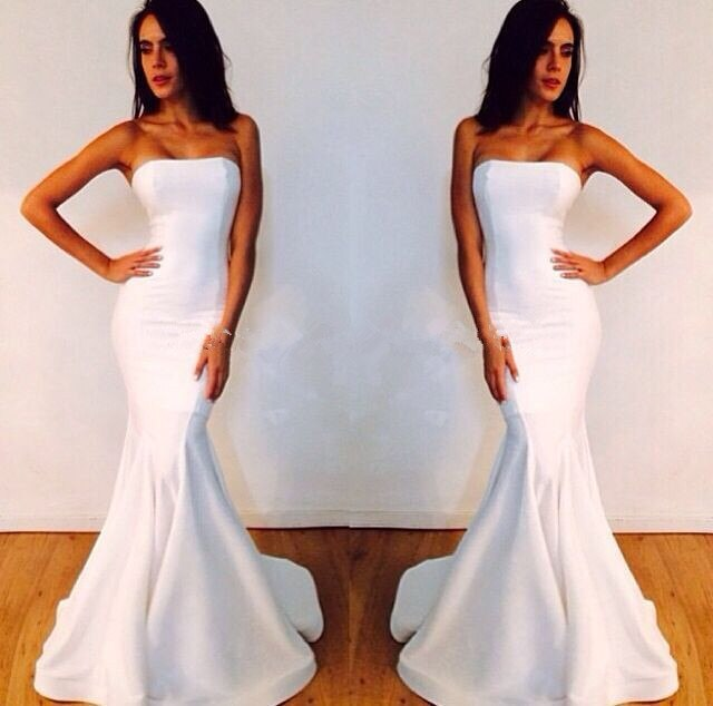 free shipping new Fashion Style Simple White Mermaid Prom 2019 Sexy Strapless Long Cheap Party Gown white bridesmaid dresses
