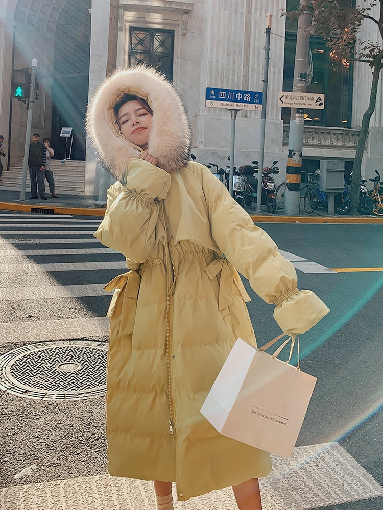 Yellow Down Cotton Padded Jacket Female 2021 New Winter Student Thickened Medium and Long Knee Cotto