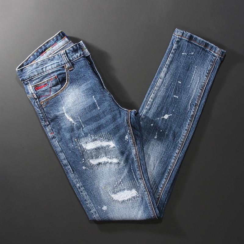 Новые дизайнерские модные мужские джинсы высокого качества в стиле ретро, светлые женские рваные джинсовые брюки, эластичные облегающие ви...