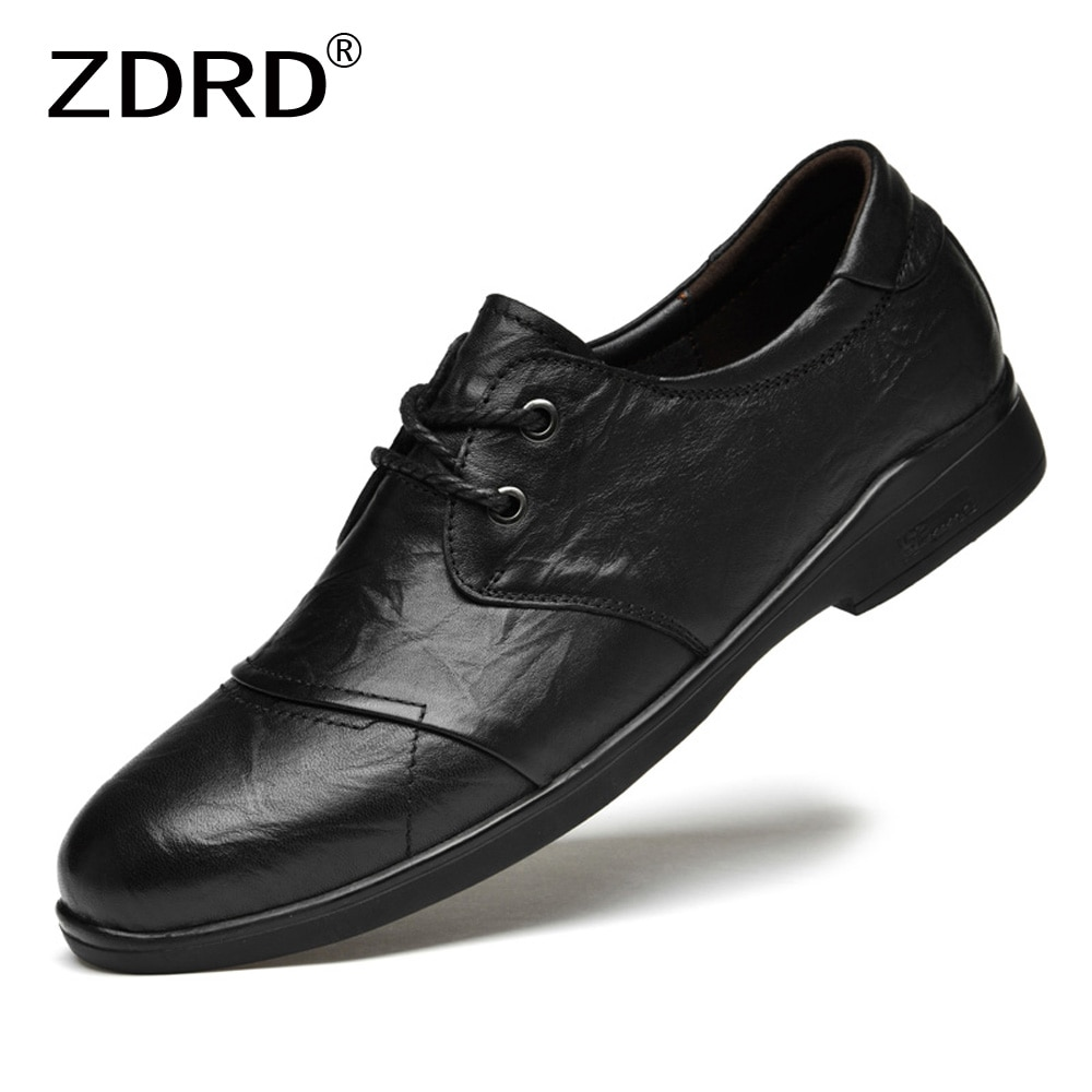 Classic New Men Genuine Leather Shoes Cow Casual Business Wedding Luxury Dress Shoes Lace Up Black O