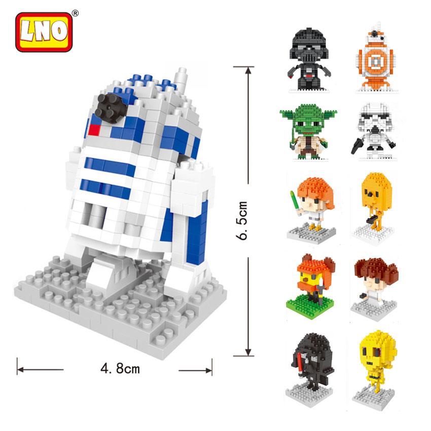 LNO Building Blocks Yoda Mini Blocks Darth Vader DIY Model BB-8 R2-D2 Plastic Bricks Educational Toys For Children Without Box