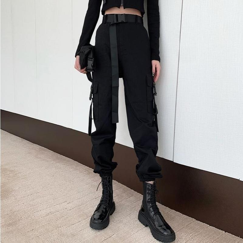 QWEEK Gothic Black Cargo Pants Women Hippie Streetwear Autumn Harajuku Trousers Rave Punk Female Straight Large Size