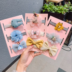 3pcs/set Bow Newborn Elastic Headbands Turban for Girls Kids Baby Hairbands Pink Head Bands Children Headband Hair Accessories