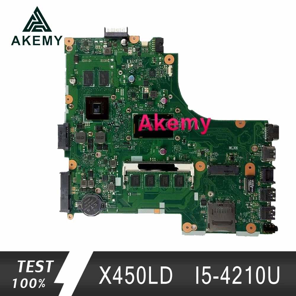 Akemy X450LD اللوحة الأم لأجهزة الكمبيوتر المحمول For Asus X450LD X450LC X450LB اختبار اللوحة الرئيسية الأصلية 4G RAM I5-4210U