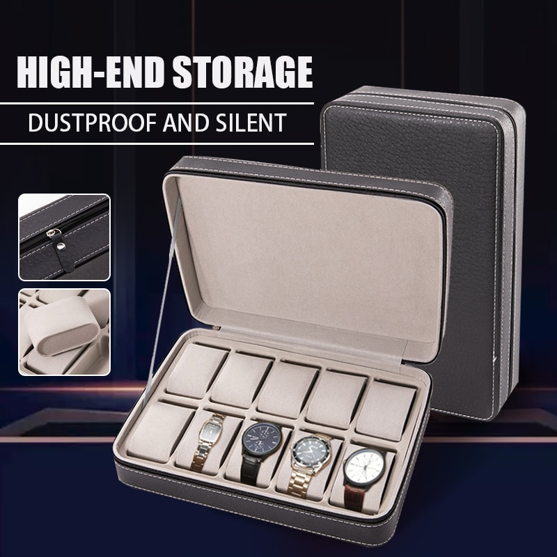 6/10/12 Slots Watch Pouch Bag Organizer Watch Box Display Case Retro PU Leather Travel Watch Case Wrist Jewelry Storage Pouch