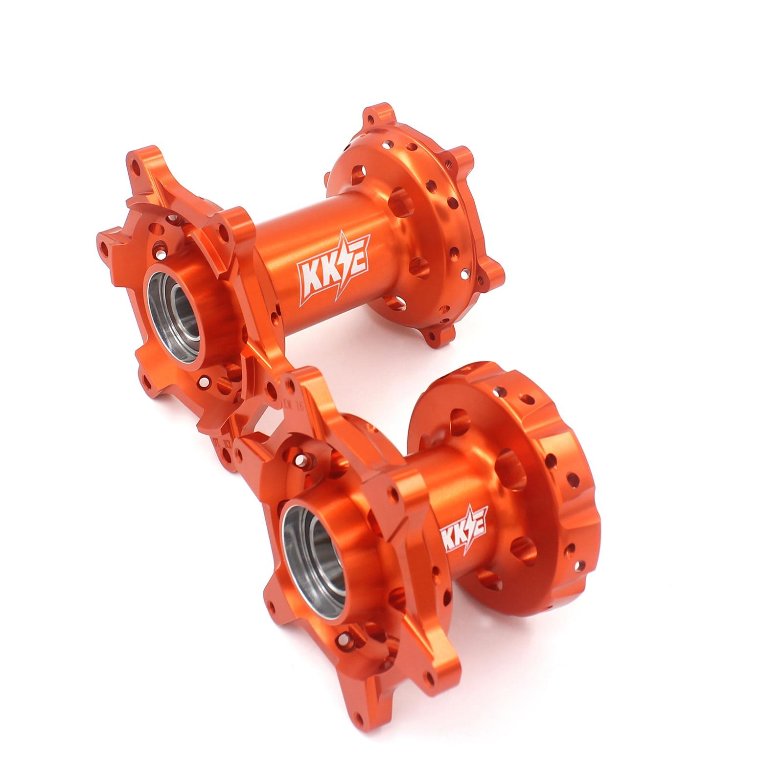 Motorcycle Aluminium Alloy CNC Machined Hub Set Compatible with KTM EXC 125 SXF 350 XC-F 450 Orange or Blue