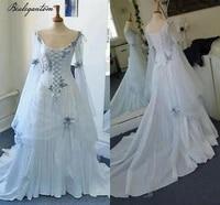 bealegantom vintage celtic gothic corset ivory wedding dresses flower bridal gowns long bell sleeves robe de mariage wd1274